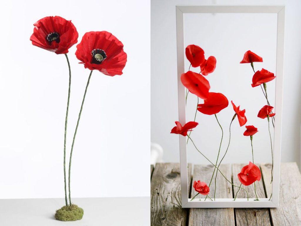 flores de papel amapolas