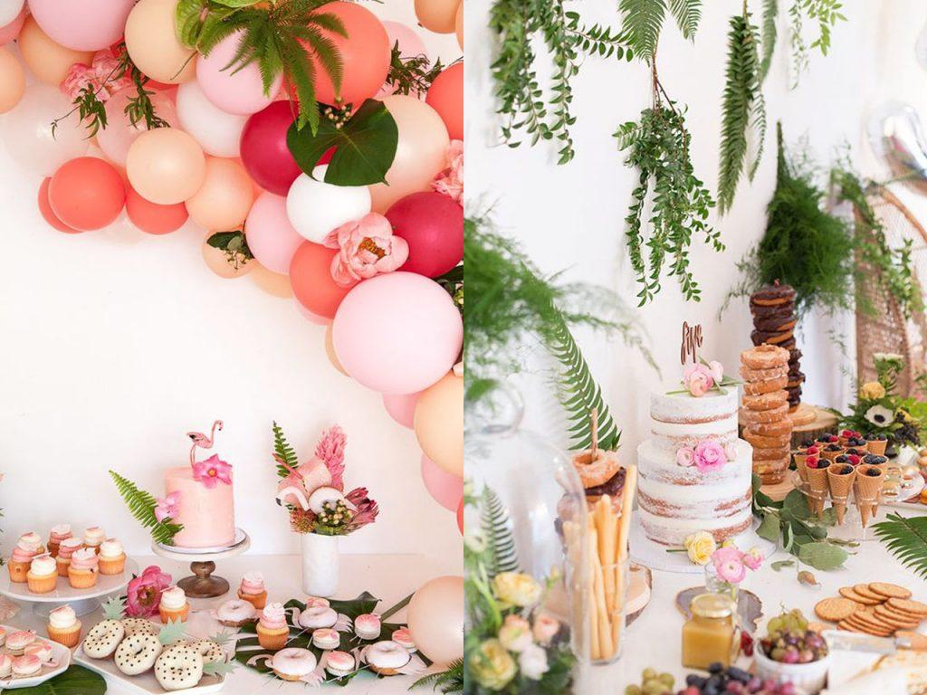 mesa de chuches en una fiesta tropical
