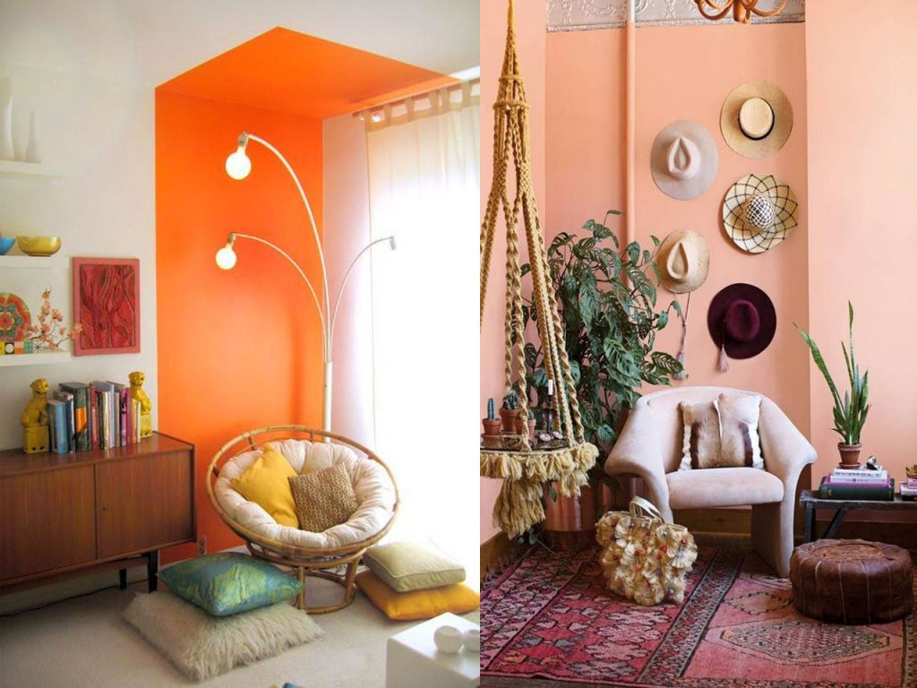 decoración naranja paredes