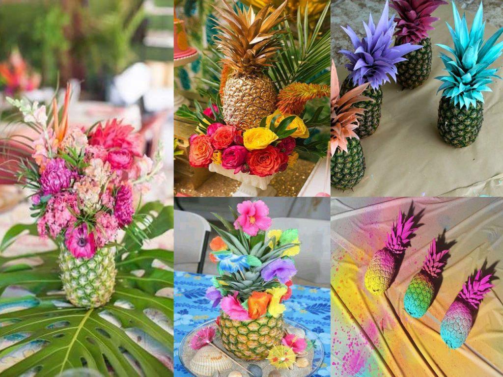 Las mejores ideas para una fiesta tropical durante este verano - Pinas decoradas para centro de mesa ...