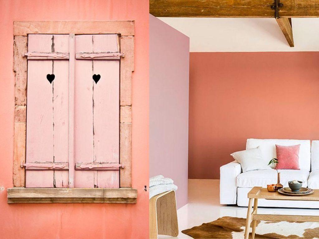 la combinación genial entre la decoración naranja y el rosa