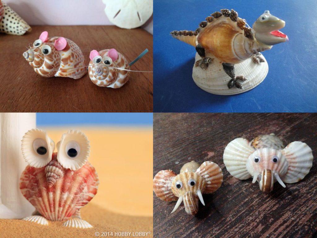 creatividad en conchas de mar con animales