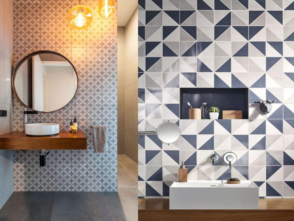 baldosas hidráulicas baños elegantes