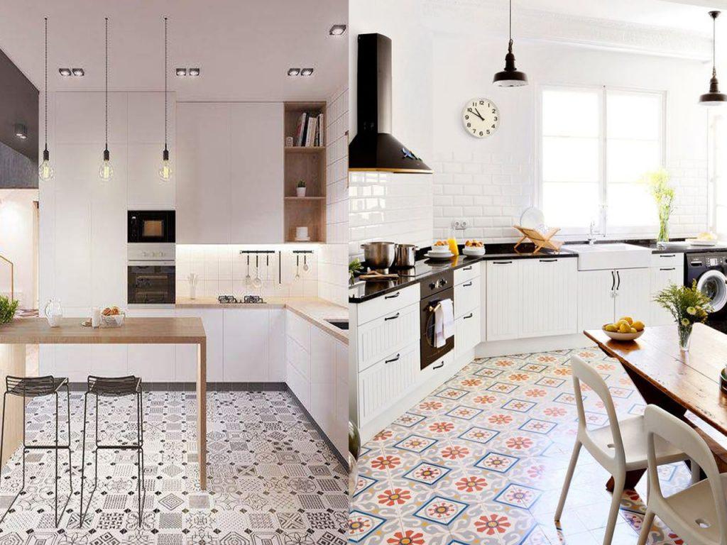 baldosas hidráulicas blancas en una cocina