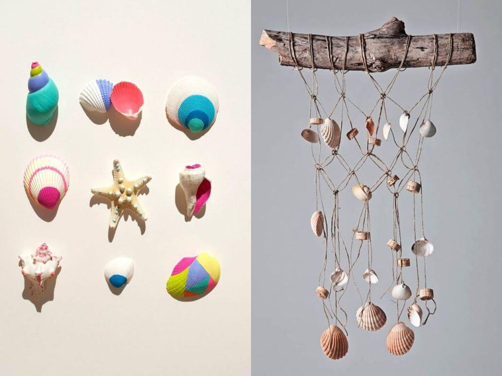 conchas de mar en la decoración