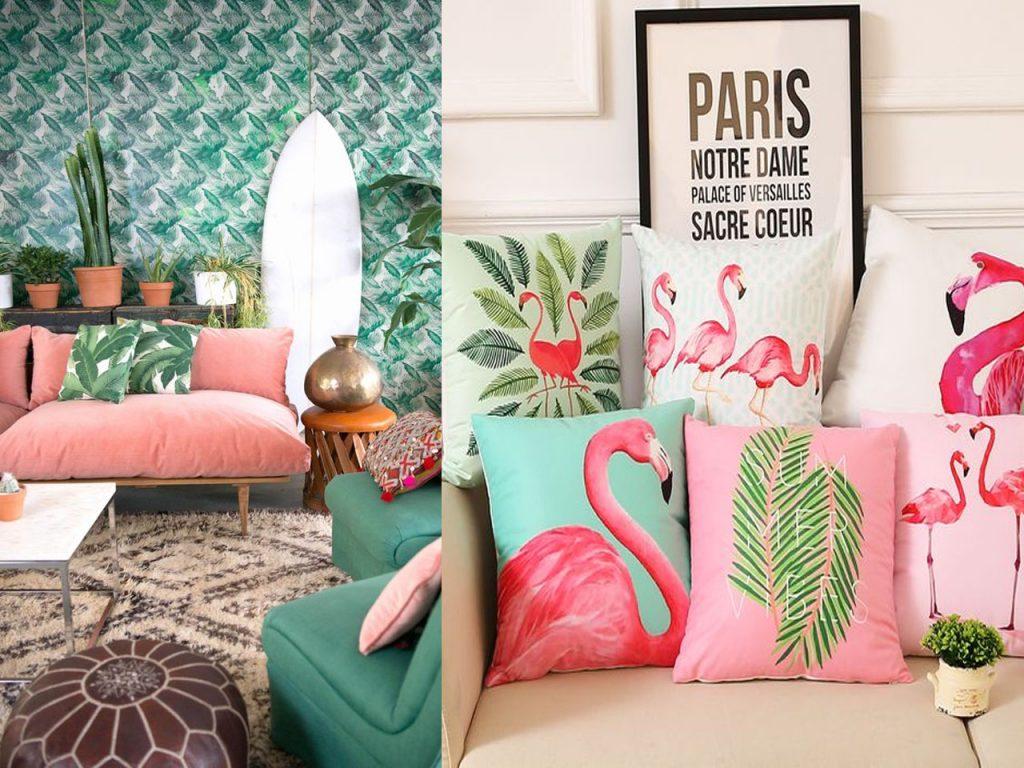 sofás para este verano cojines tropicales