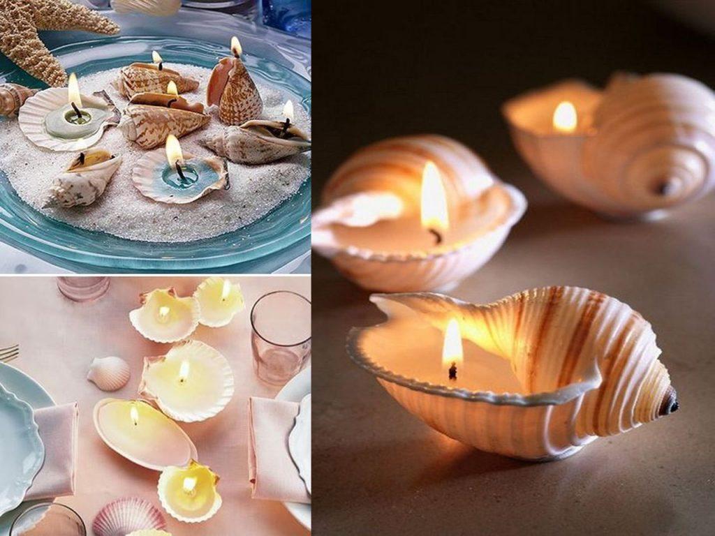 velas con conchas de mar