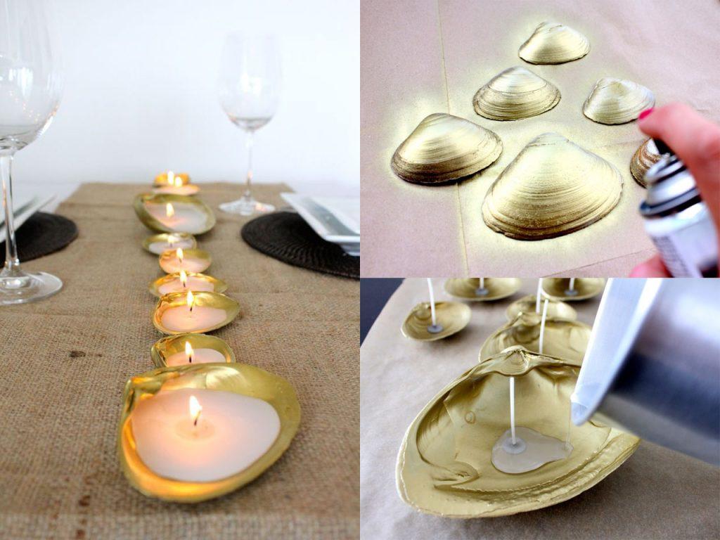preciosas velas con conchas de mar
