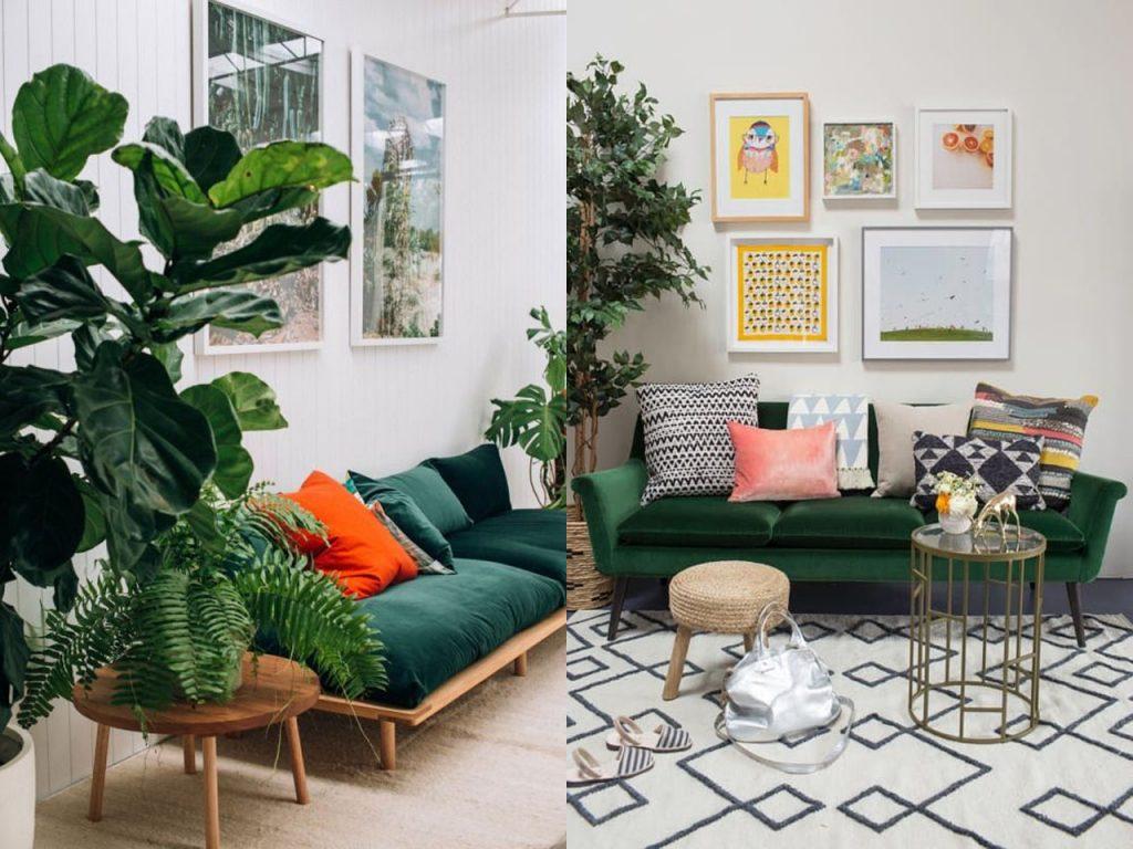 sofás para este verano verde y madera