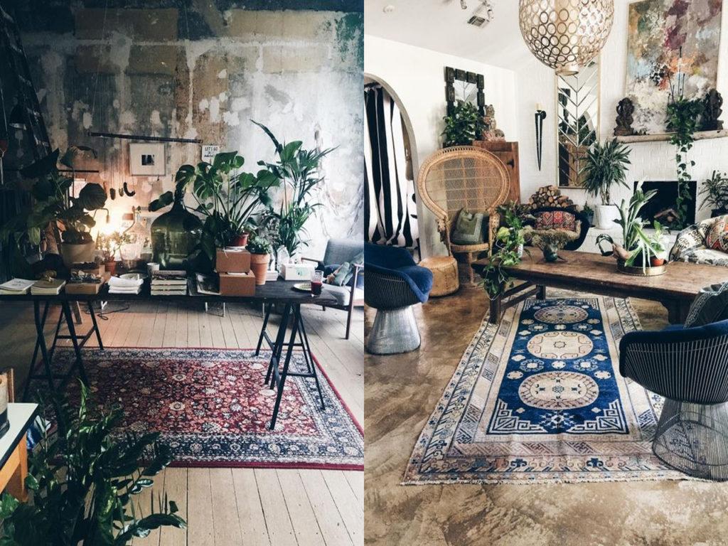 separación decoración con alfombras