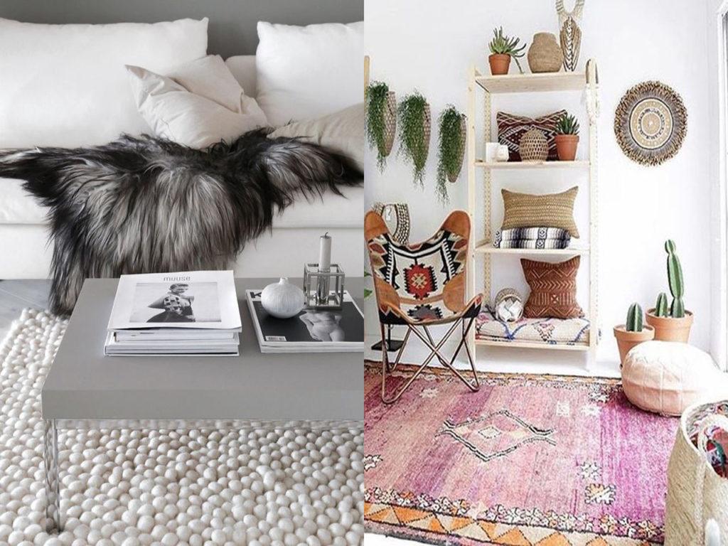 colocación decoración con alfombras