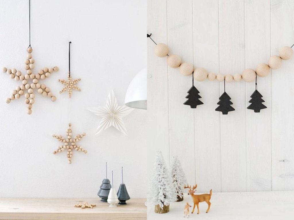 cuentas de madera decoración para navidad 2017-2018