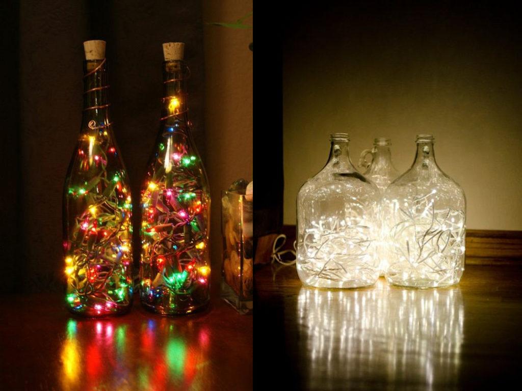 botellas con encanto gracias a las luces de navidad