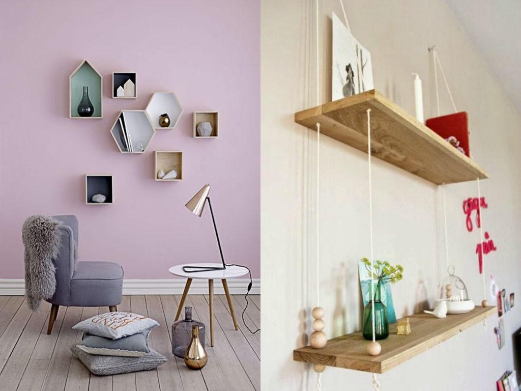 elementos de decoración modernos como las estanterías originales