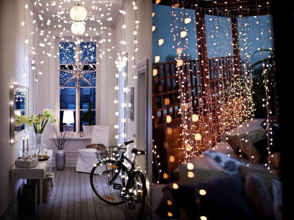 cortina de luces de navidad
