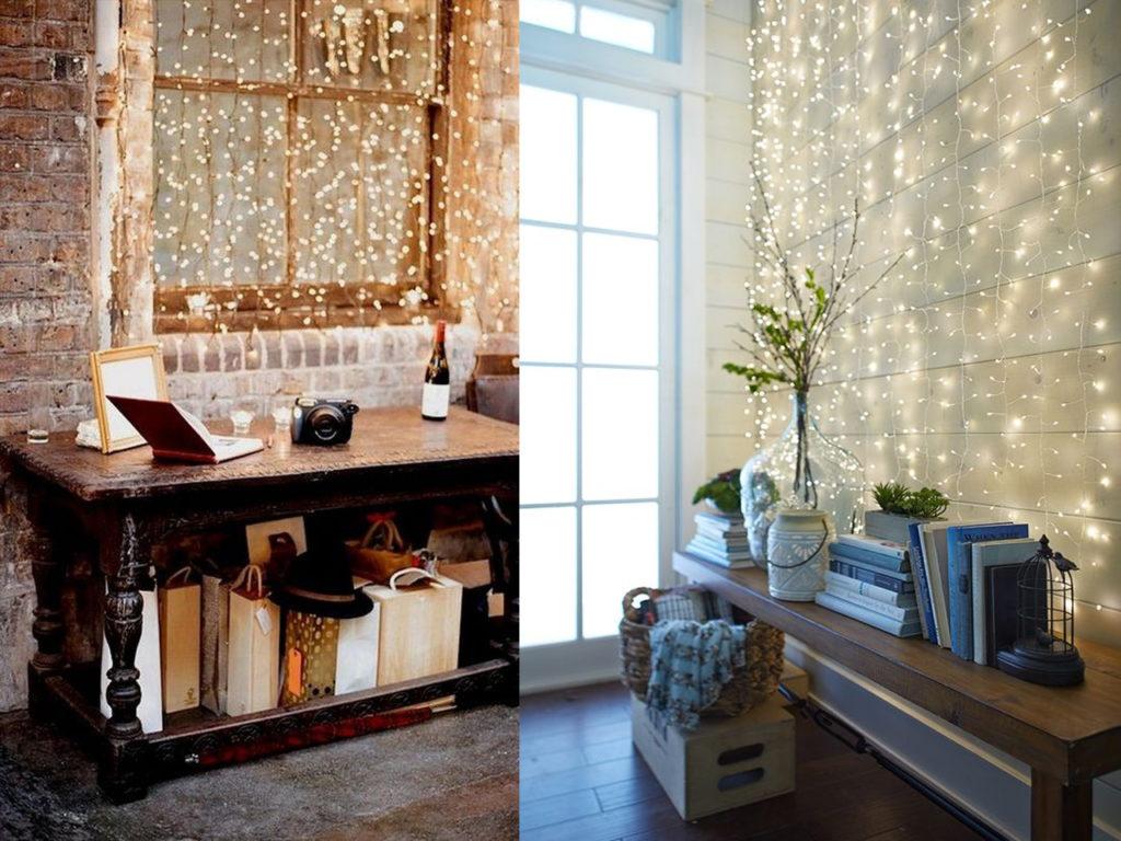 luces de navidad en las paredes del hogar
