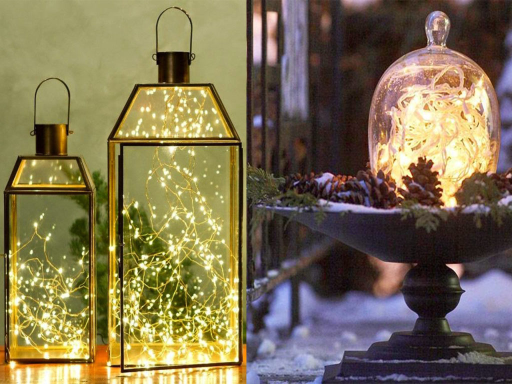 luces de navidad dentro de botes de cristal