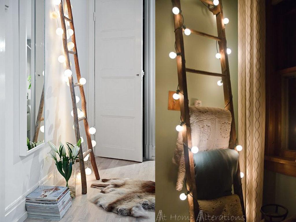 escaleras con luces de navidad
