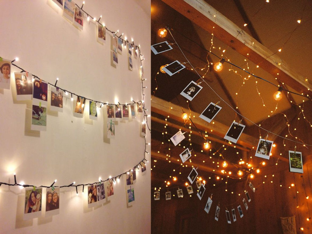 7 ideas de decoraci n con luces de navidad en tu d a a d a - Pared decorada con fotos ...